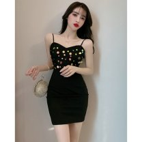 Dress Spring 2020 black S,M,L Short skirt singleton  Sleeveless commute V-neck High waist Socket One pace skirt camisole 18-24 years old Type H Other / other Korean version Open back, sequins 51% (inclusive) - 70% (inclusive) polyester fiber