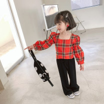suit Other / other Red, black 90cm, 100cm, 110cm, 120cm, 130cm, 140cm female spring and autumn Korean version Long sleeve + pants 2 pieces routine There are models in the real shooting Socket nothing lattice cotton children Expression of love MLS5026 Class B Cotton 90% other 10% Chinese Mainland