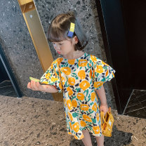 Dress yellow female Other / other 90cm,100cm,110cm,120cm,130cm Other 100% summer Korean version Short sleeve Plants and flowers cotton A-line skirt MLQ5176 Class B 18 months, 2 years old, 3 years old, 4 years old, 5 years old, 6 years old, 7 years old, 8 years old