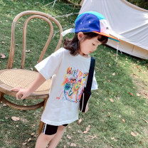 T-shirt white Other / other 90cm, 100cm, 110cm, 120cm / 120cm, 130cm, 140cm neutral summer Short sleeve other Korean version There are models in the real shooting nothing cotton Cartoon animation Cotton 90% other 10% MLS3245 Class B other Chinese Mainland