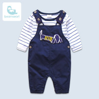 suit Eonsarl / bonsar Navy Blue Dog Suit 59CM 66CM 73CM 80CM 90CM 100CM male spring and autumn Europe and America 2 pieces routine No model stripe cotton BS17137 Class A Cotton 95% other 5% Summer 2017 3 months 6 months 9 months 12 months 18 months 2 years 3 years old