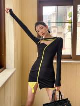Dress Winter 2020 black S,M,L Short skirt singleton  Long sleeves High waist 18-24 years old Other / other
