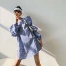 Dress Autumn 2020 Blue check S, M singleton  Long sleeves 18-24 years old Other / other