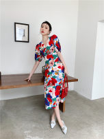 Dress Spring 2021 Petiole S,M,L longuette singleton  Long sleeves One word collar High waist Decor Socket A-line skirt pagoda sleeve camisole 25-29 years old Type A Other / other Lotus leaf edge Chiffon polyester fiber