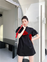 Dress Summer 2021 Middle-skirt Short sleeve singleton  Solid color Crew neck Loose waist Three buttons A-line skirt 18-24 years old Lotus leaf sleeve 31% (inclusive) - 50% (inclusive) polyester fiber Type A Other Other / other S,M,L