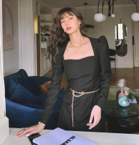 Dress Spring 2021 Black stock with chain S,M,L Short skirt singleton  Long sleeves square neck High waist Solid color Socket Big swing puff sleeve Others Type A Other / other 71% (inclusive) - 80% (inclusive) other polyester fiber