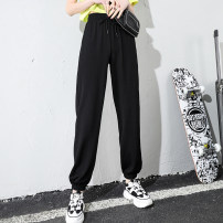 Women's large Summer 2021 black L, 1XL, 2XL, 3XL, 4XL trousers singleton  commute easy thin Conjoined Solid color Korean version Polyester, others Three dimensional cutting 18-24 years old pocket trousers