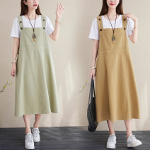 Dress Summer 2021 Sleeveless singleton  Medium length skirt commute Loose waist Condom 30-34 years old Solid color 81% (inclusive) - 90% (inclusive) cotton Type A straps literature Pockets, panels, buttons L [recommended 100-135 kg], XL [recommended 135-170 kg]