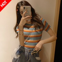 T-shirt Rainbow Stripe XS,S,M,L,XL,2XL Spring 2021 Short sleeve One word collar Self cultivation Regular routine Sweet cotton 86% (inclusive) -95% (inclusive) 25-29 years old youth princess