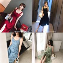 Dress Summer of 2018 XS,S,M,L singleton  Sweet Solid color Socket Mimius A0424