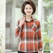 Middle aged and old women's wear Autumn 2020 XL,XXL,XXXL,4XL,5XL fashion shirt easy singleton  lattice 40-49 years old Cardigan moderate routine routine Other Button Single breasted Long sleeves