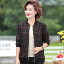 Middle aged and old women's wear Spring 2021 Big lattice red, big lattice yellow, small lattice red, small lattice yellow XL,XXL,XXXL,4XL,5XL fashion Jacket / jacket easy singleton  lattice 40-49 years old Cardigan moderate Short (length 35-50cm) routine Jiusailang pocket zipper