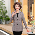 Middle aged and old women's wear Autumn 2020 Coffee bar, blue bar XL,XXL,XXXL,4XL,5XL fashion suit easy singleton  lattice 40-49 years old Cardigan moderate routine routine other Button polyester Single breasted