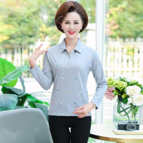 Middle aged and old women's wear Autumn 2020 XL,XXL,XXXL,4XL fashion T-shirt easy singleton  Decor 40-49 years old Socket moderate Polo collar routine routine other Button cotton Long sleeves