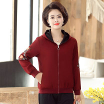 Middle aged and old women's wear Autumn 2020 Red, pink XL,XXL,XXXL,4XL fashion Jacket / jacket easy singleton  Decor 40-49 years old Cardigan moderate Hood Medium length (length 50-70cm) routine Other / other zipper