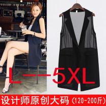 Vest Spring of 2018 black Medium length Polo collar commute Solid color 91% (inclusive) - 95% (inclusive) Splicing