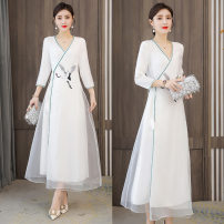 Dress Spring 2021 white M,L,XL,2XL,3XL,4XL longuette singleton  three quarter sleeve commute V-neck middle-waisted Solid color Socket A-line skirt routine Others 25-29 years old Type A Other / other Retro Embroidery, embroidery XYF6837 71% (inclusive) - 80% (inclusive) Chiffon polyester fiber
