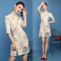 cheongsam Summer 2020 S,M,L,XL Beige three quarter sleeve Single cheongsam Retro Low slit daily Oblique lapel Big flower 18-25 years old XYFA150 Other / other polyester fiber 71% (inclusive) - 80% (inclusive)