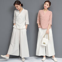 jacket Autumn 2020 S,M,L,XL,XXL White suit, pink suit, light blue suit XYF8851 Other / other 18-25 years old hemp 71% (inclusive) - 80% (inclusive)