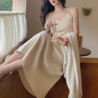 Dress Winter 2020 Beige, beige, S,M,L longuette singleton  Sleeveless commute V-neck High waist Solid color Socket camisole 18-24 years old Type A Simplicity CY-18132 knitting wool