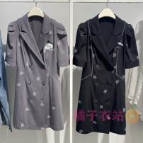 Dress Summer 2021 Black, gray S,M,L,XL Middle-skirt singleton  Short sleeve commute tailored collar High waist Solid color double-breasted A-line skirt routine Type A Peacebird Korean version printing A5FAB2168 More than 95% polyester fiber