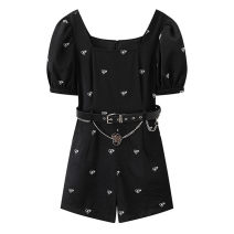 Casual pants black S,M,L,XL Summer 2021 shorts Straight pants High waist commute routine 96% and above A2FBB2298 Peacebird Korean version Embroidery polyester fiber Asymmetry