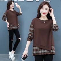 Sweater / sweater Spring 2021 Black, brown M [recommended 80-100 kg], l [recommended 100-120 kg], XL [recommended 120-135 kg], 2XL [recommended 135-150 kg], 3XL [recommended 150-170 kg], XS [recommended 30-40 kg], 4XL [recommended 170-200 kg] Long sleeves routine Socket Fake two pieces routine easy
