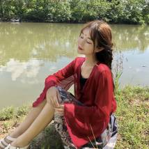 skirt Summer of 2018 Average size Black sunscreen red sunscreen black embroidery suspender red embroidery suspender mist grey skirt Middle-skirt Sweet High waist A-line skirt 18-24 years old 6480# solar system
