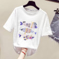 T-shirt White, violet, pink S,M,L,XL,2XL,3XL Summer of 2019 Short sleeve Crew neck easy Regular routine commute cotton 96% and above Korean version youth Animal design LN223 Sequins, embroidery