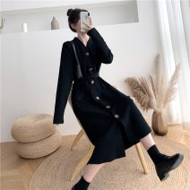 Dress Winter 2020 black Average size longuette singleton  Long sleeves commute V-neck High waist Solid color Single breasted One pace skirt routine Others 25-29 years old Type H Korean version Button 51% (inclusive) - 70% (inclusive) knitting other