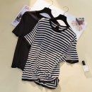 Women's large Summer 2021 Black, striped XL [95-130 Jin], 2XL [130-170 Jin], 3XL [170-200 Jin] T-shirt singleton  commute easy thin Socket Short sleeve Stripe, solid color Korean version Crew neck routine Collage backless Hollowing out