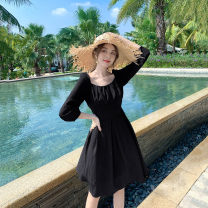 Dress Winter 2020 black S,M,L Short skirt singleton  three quarter sleeve Sweet square neck High waist Solid color Socket Ruffle Skirt puff sleeve Others 18-24 years old Type A Suchewha More than 95% Chiffon polyester fiber Bohemia
