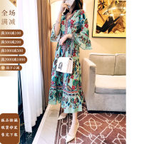 Dress Autumn 2020 Decor S,M,L longuette other three quarter sleeve street V-neck High waist Decor Socket other other Others 30-34 years old Type A Fashion printing More than 95% other silk Europe and America