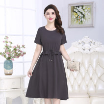 Middle aged and old women's wear Summer 2021 1#,2#,3#,4# L,XL,XXL,XXXL,4XL commute Dress easy singleton  Solid color 40-49 years old Socket thin Crew neck routine A9-08 yi naxiangfei Bandage Cotton, polyester 96% and above Medium length Pleated skirt
