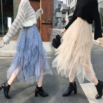 skirt Spring 2021 Average size Blue, apricot, pink, black Mid length dress Versatile Natural waist Irregular Type A 18-24 years old