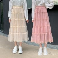 skirt Spring 2021 Average size Apricot, white, black, pink, card longuette Versatile High waist Cake skirt Solid color Type A 18-24 years old