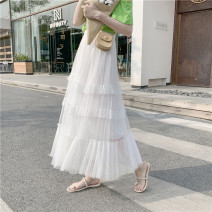 skirt Summer 2021 Average size Apricot, grey, white, black longuette Versatile Natural waist Pleated skirt Solid color Type A 18-24 years old 71% (inclusive) - 80% (inclusive) other fold