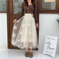 skirt Winter 2020 Average size Apricot, white, black, pink longuette commute High waist A-line skirt Solid color Type A 18-24 years old polyester fiber Gauze