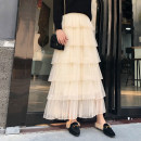 skirt Spring 2021 Average size Black, white, apricot, pink, black plush, white plush, apricot plush Mid length dress Versatile High waist Cake skirt Solid color Type A 18-24 years old Other / other