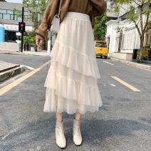skirt Autumn of 2019 Average size Apricot, grey, black Mid length dress Versatile High waist Irregular Type A