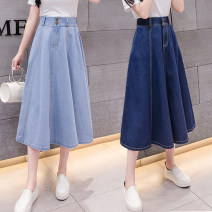 skirt Summer of 2019 S,M,L,XL,2XL Light blue, dark blue Mid length dress commute High waist A-line skirt Solid color Type A Denim Other / other cotton Korean version