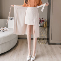 skirt Summer 2020 S,M,L,XL Apricot, yellow, black Mid length dress Versatile High waist Irregular Solid color Type A 18-24 years old other