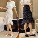 skirt Summer 2020 S,M,L,XL,2XL Mid length dress Versatile High waist A-line skirt Decor Type A 18-24 years old 81% (inclusive) - 90% (inclusive) Chiffon zipper