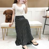 skirt Summer 2020 S,M,L,XL,2XL Black, white longuette High waist A-line skirt Dot Chiffon