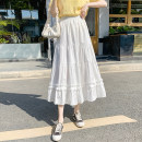 skirt Spring 2021 Average size White, black Mid length dress Versatile High waist Cake skirt Solid color Type A 18-24 years old Fold, Auricularia auricula