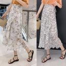 skirt Summer 2021 Average size Black branches and leaves on a white background, small yellow flowers on a white background Mid length dress fresh Natural waist A-line skirt Decor Type A 18-24 years old Chiffon