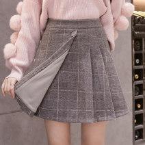 skirt Autumn 2020 S,M,L,XL,2XL Gray, black Short skirt Versatile High waist Pleated skirt lattice Type A 18-24 years old Wool Button, stitching