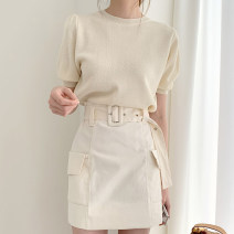 Wool knitwear Summer 2020 Average size Short sleeve Two piece set Socket other 51% (inclusive) - 70% (inclusive) have cash less than that is registered in the accounts Thin money commute Self cultivation puff sleeve Solid color Korean version 18-24 years old Other / other