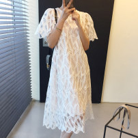 Dress Summer 2021 Picture color Average size Mid length dress Two piece set Short sleeve Crew neck Loose waist other Socket other routine 18-24 years old Other / other
