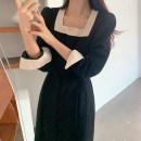 Dress Autumn 2020 black S, M Mid length dress singleton  Sweet square neck 18-24 years old Other / other